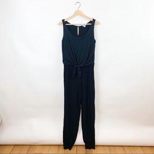 Splendid Tie Front Pant Jumpsuit Black Size Small